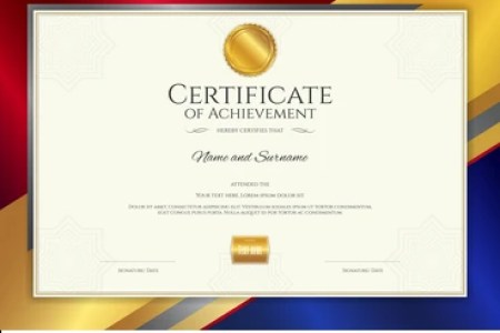 Certificate Appreciation Template Vintage Gold Border Stock Vector     Luxury certificate template with elegant border frame  Diploma design for  graduation or completion
