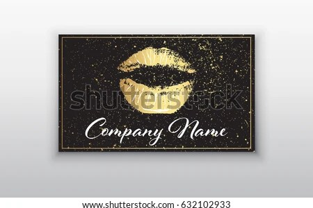 Makeup Artist Business Card Business Cards Stock Vector  Royalty     Makeup artist business card  Business cards template with gold lips print  and black brush