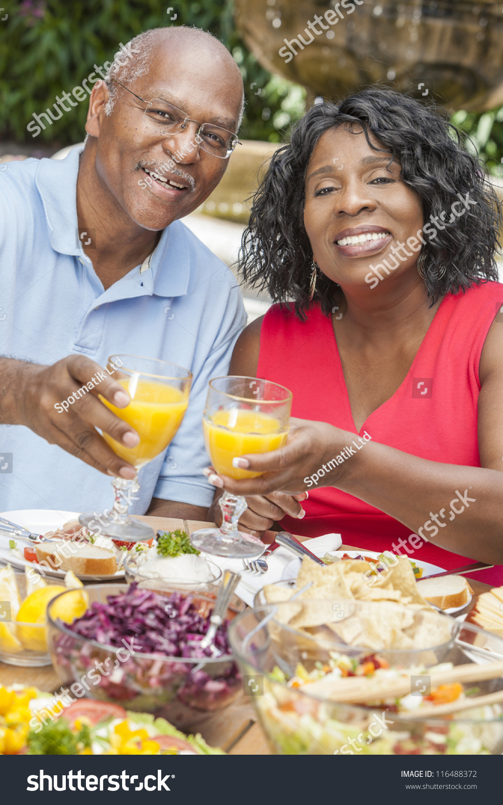 African American Senior Citizens Eating