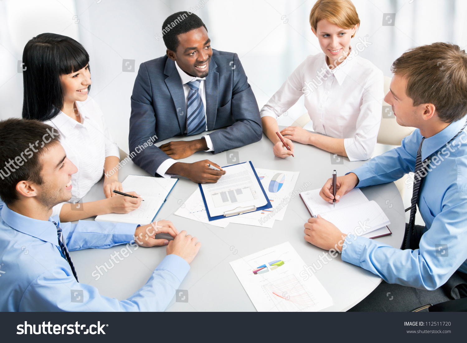 Business Group Meeting Portrait Five Business Stock Photo ...