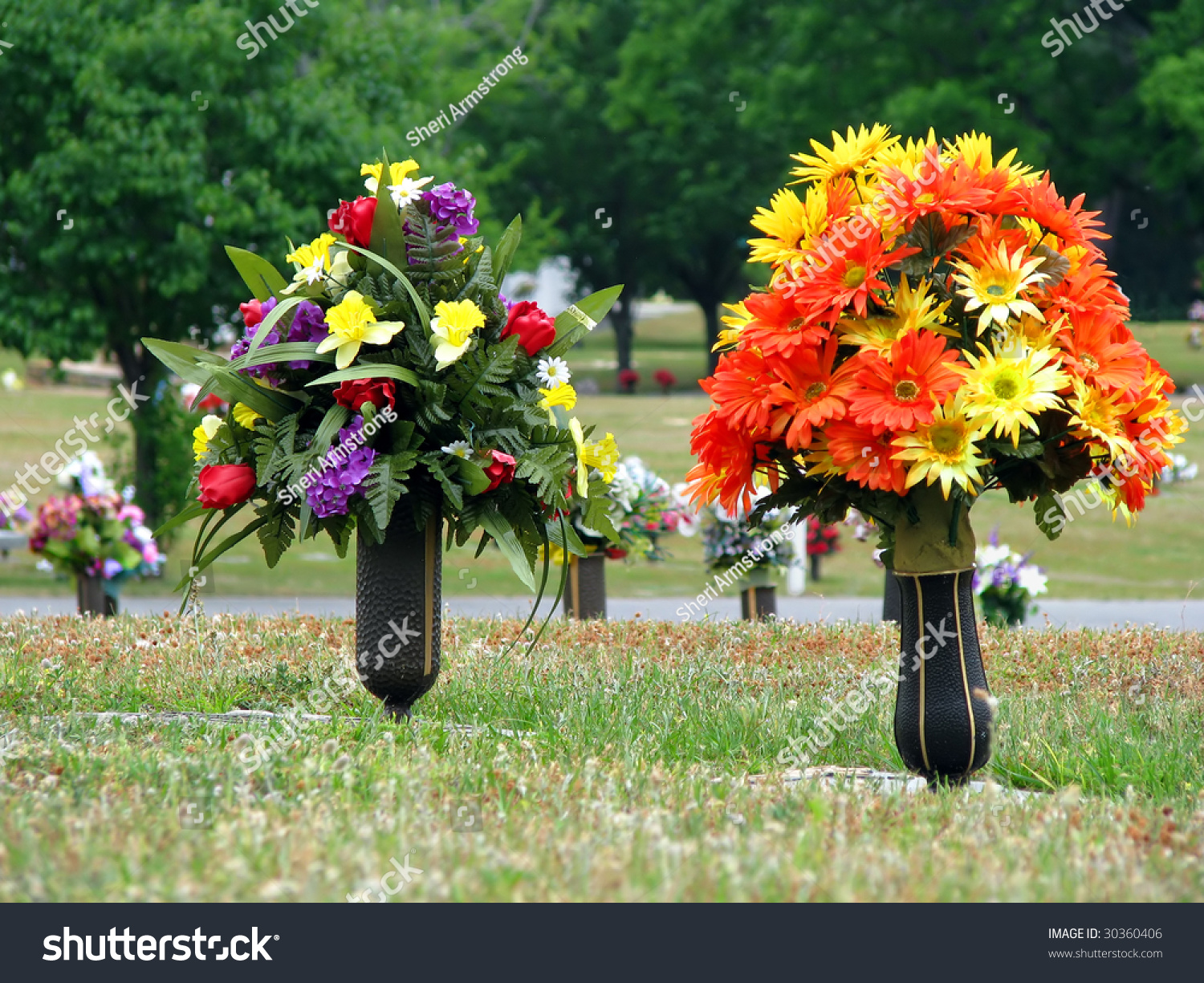 Cemetery Flowers Vase Arrangements