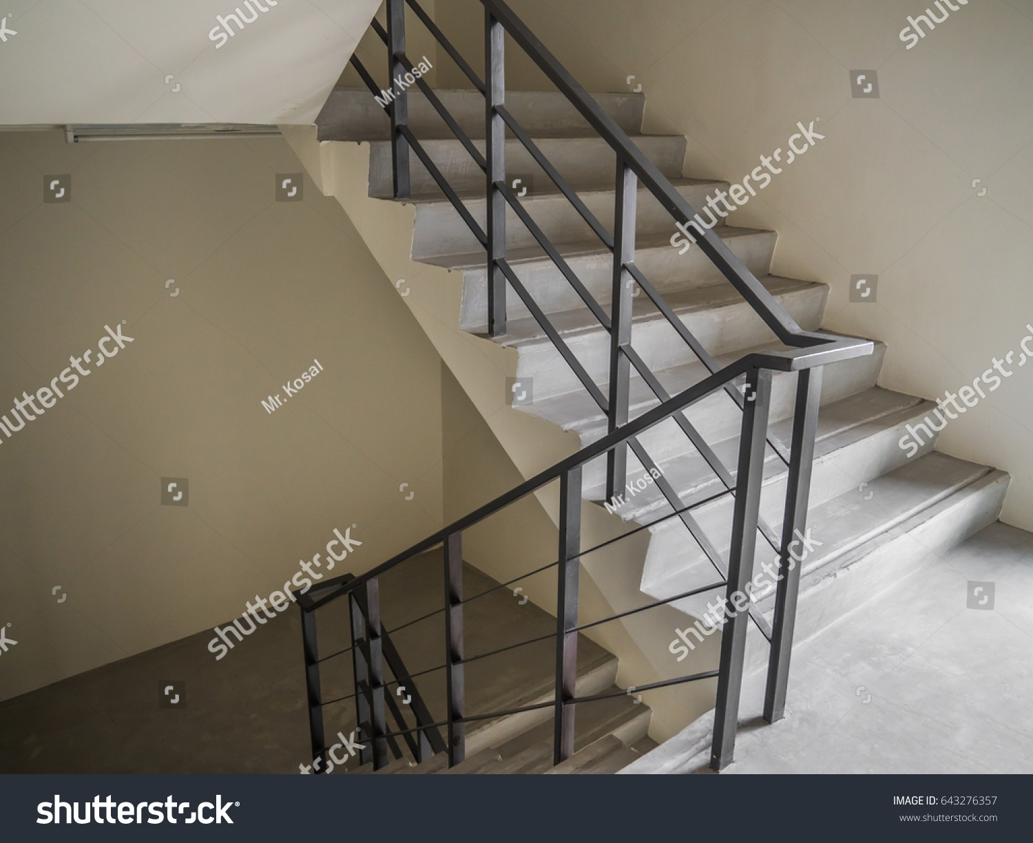 Emergency Standard Indoor Staircase White Paint Stock Photo Edit | Metal Handrails For Indoor Stairs | Baluster | Indoor Outdoor | Staircase Remodel | Stainless Steel | Stair Treads