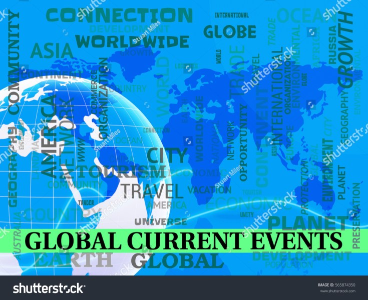 Global Current Events Map Indicating World Stock Illustration     Global Current Events Map Indicating World News 3d Illustration
