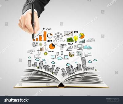 Hand Drawing Business Concept Open Book Stock Photo ...