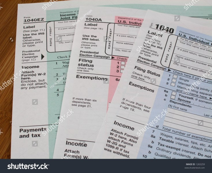 Income Tax Forms 1040 Stock Photo  Royalty Free  1265259   Shutterstock Income tax forms 1040