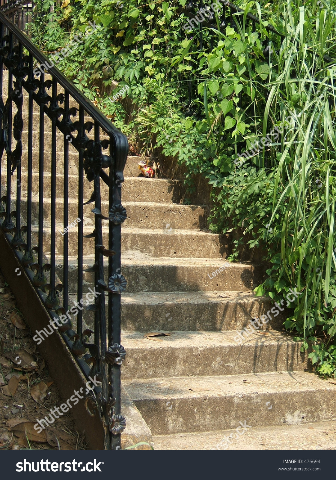 Outdoor Staircase Made Stone Wrought Iron Stock Photo Edit Now | Wrought Iron Outdoor Handrails | Curved | Vintage Salvaged Outdoor Iron | Aluminum | Modern | Residential