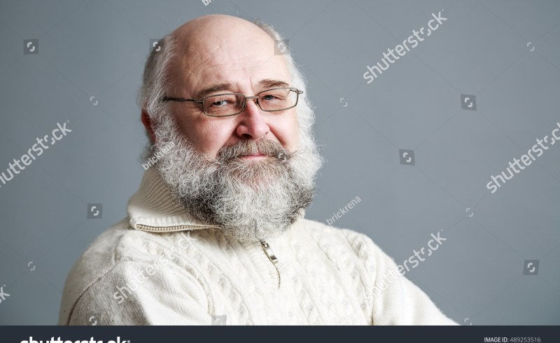 ba8a89c6b Portrait Old Man Beard On Gray Stock Photo (100% Legal Protection