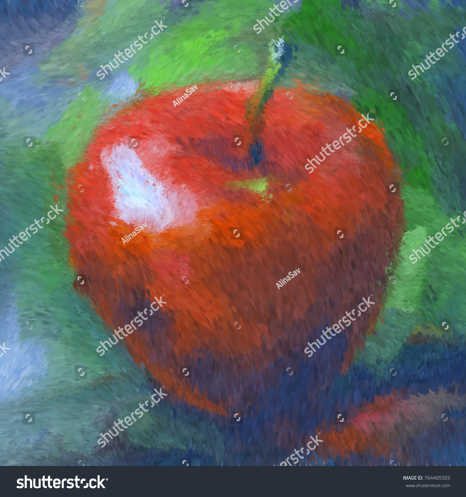 Red Apple Digital Oil Painting Impressionism Stock Illustration     Red apple digital oil painting impressionism