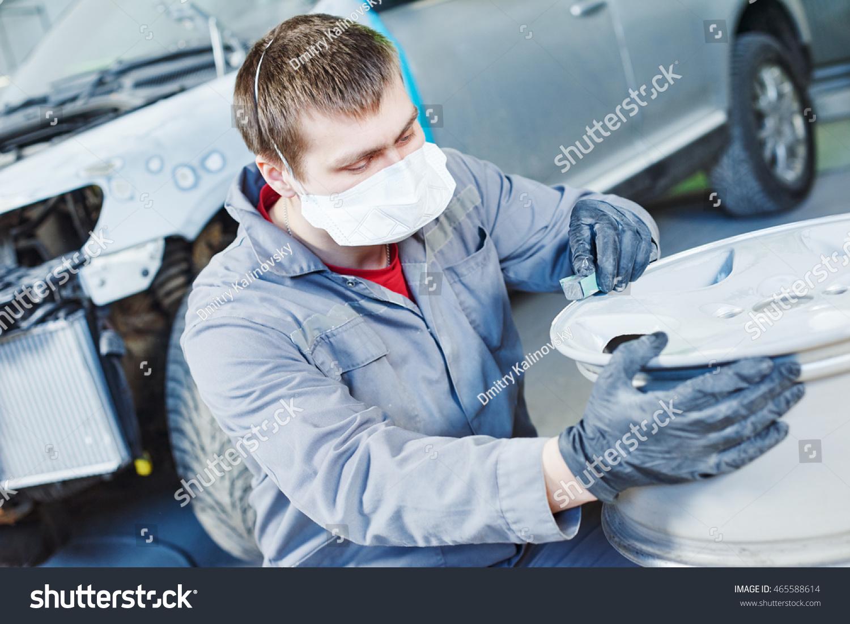 Repair Mechanic Worker Light Alloy Car Stock Photo