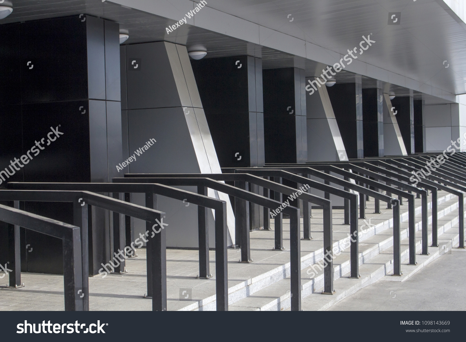 Stairs Concrete Steps Metal Handrails Front Buildings Landmarks   Metal Handrails For Concrete Steps   Wrought Iron   Easy   Patio   Safety   Different Style