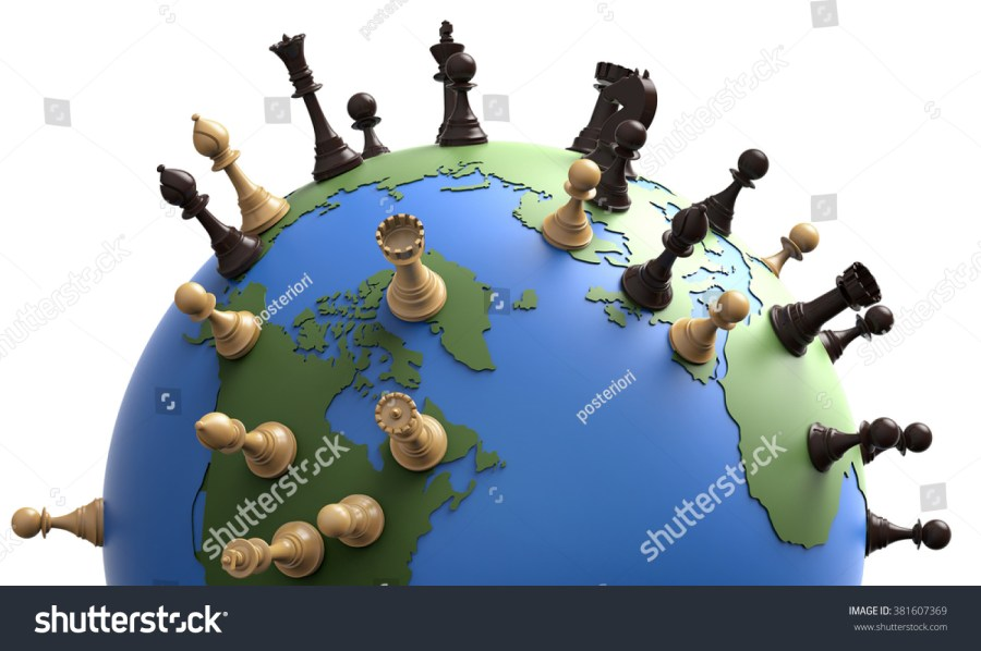 Symbol Geopolitics World Globe Chess Pieces Stock Illustration     symbol of geopolitics the world globe with chess pieces