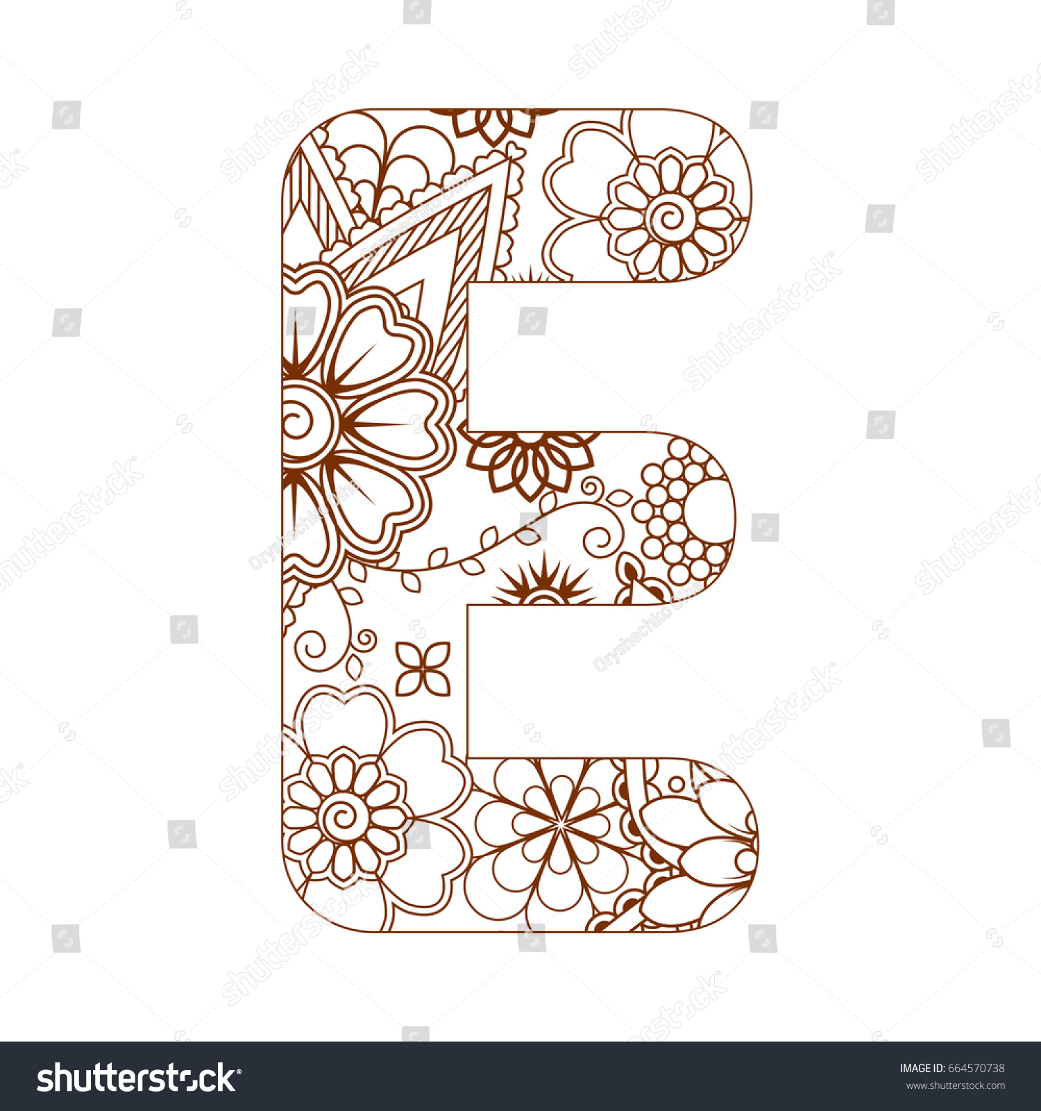 Adult Coloring Page Letter E Alphabet Stock Vector 664570738