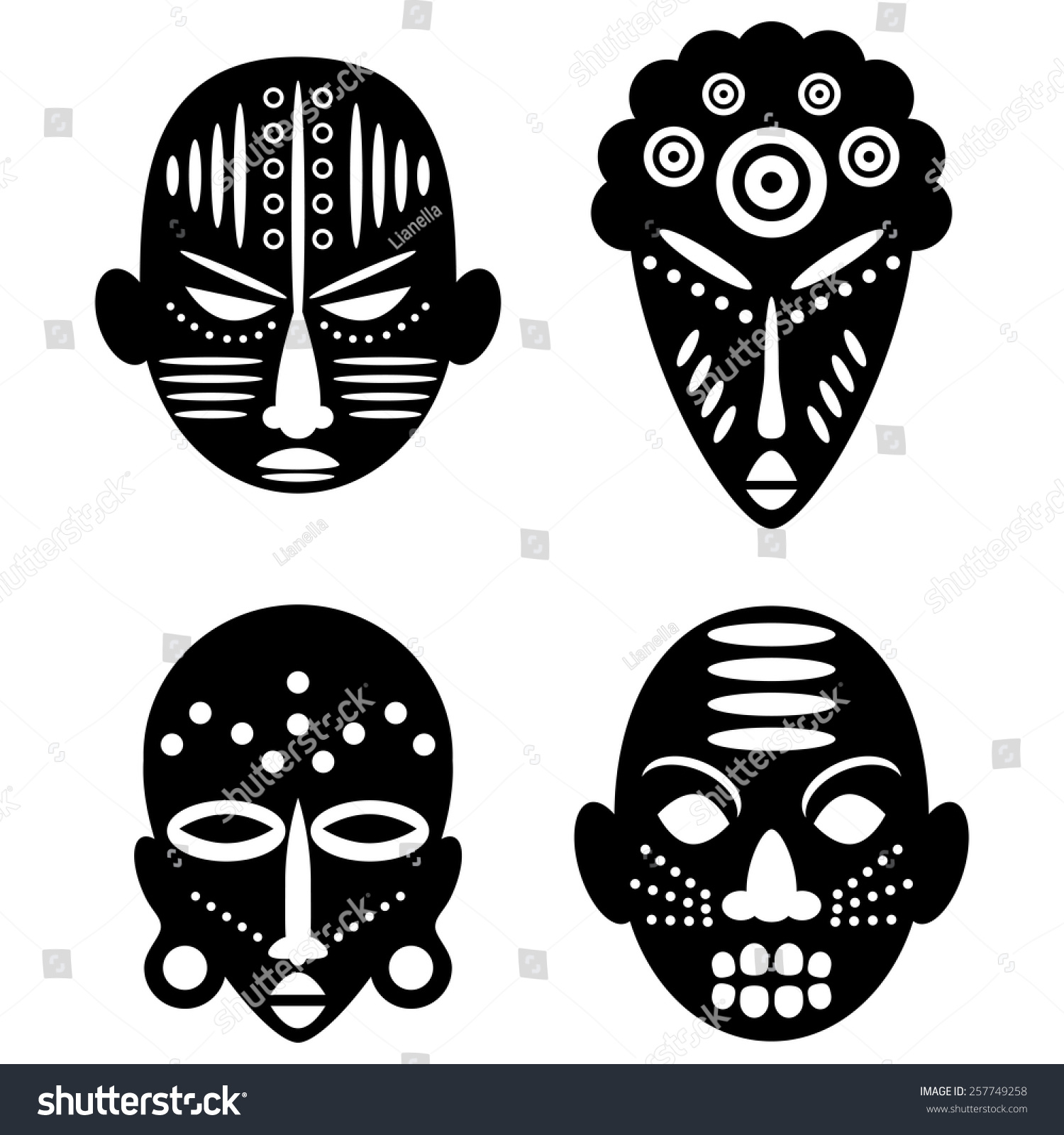 Voodoo And Masks White Black