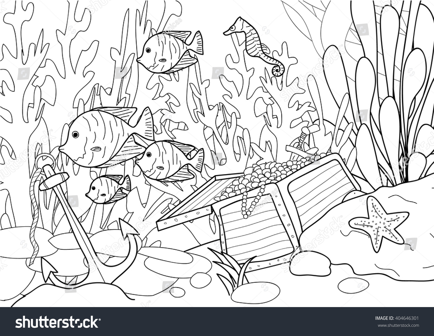 Coloring Page Adult Treasure Under Sea Stock Vector 404646301