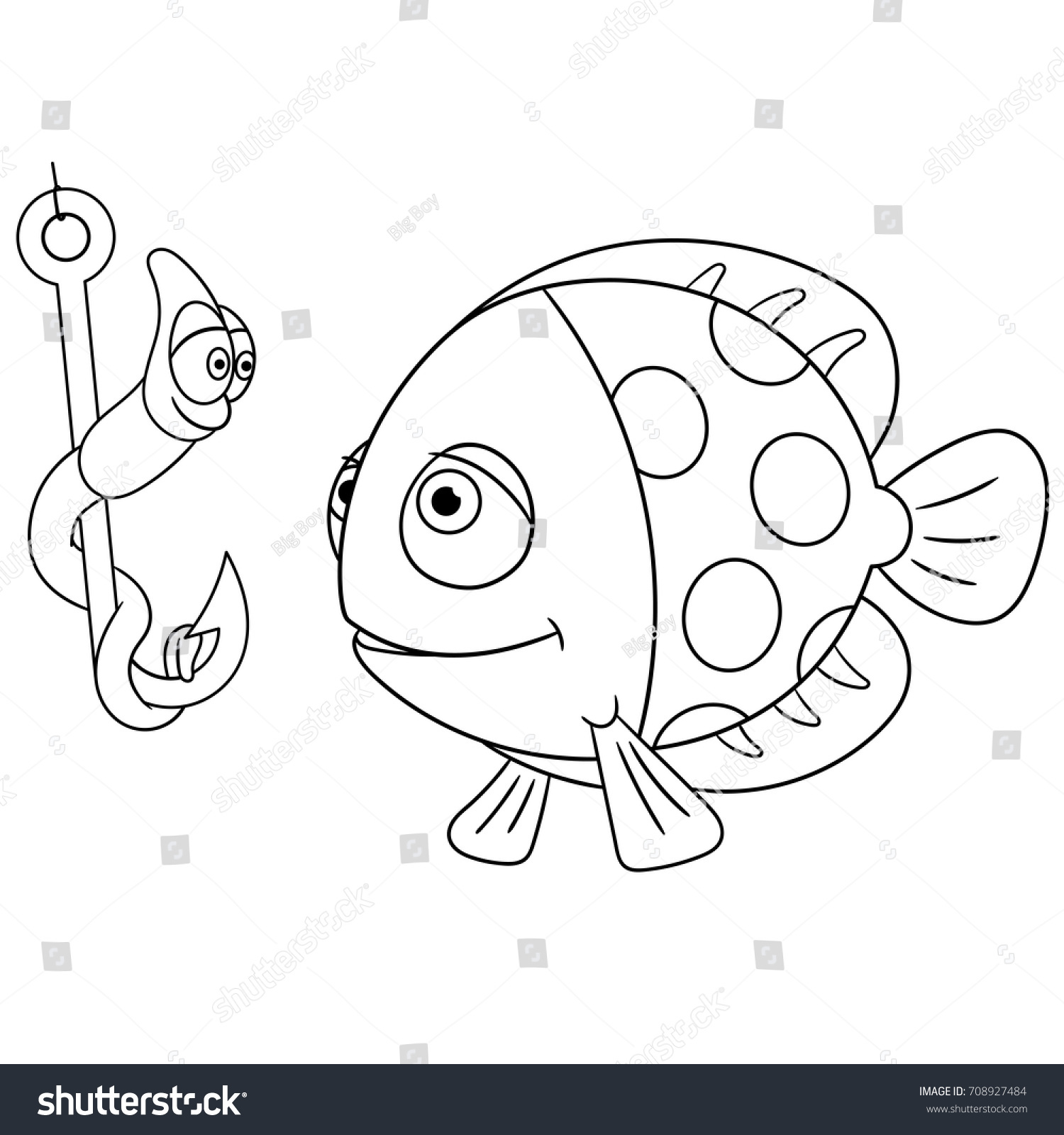 Coloring Page Cartoon Fish Worm On Stock Vector 708927484