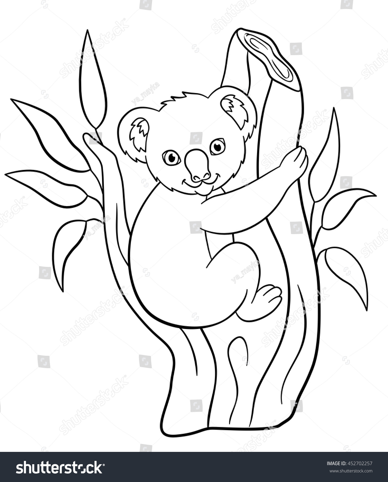 Coloring Pages Little Cute Baby Koala Stock Vector 452702257