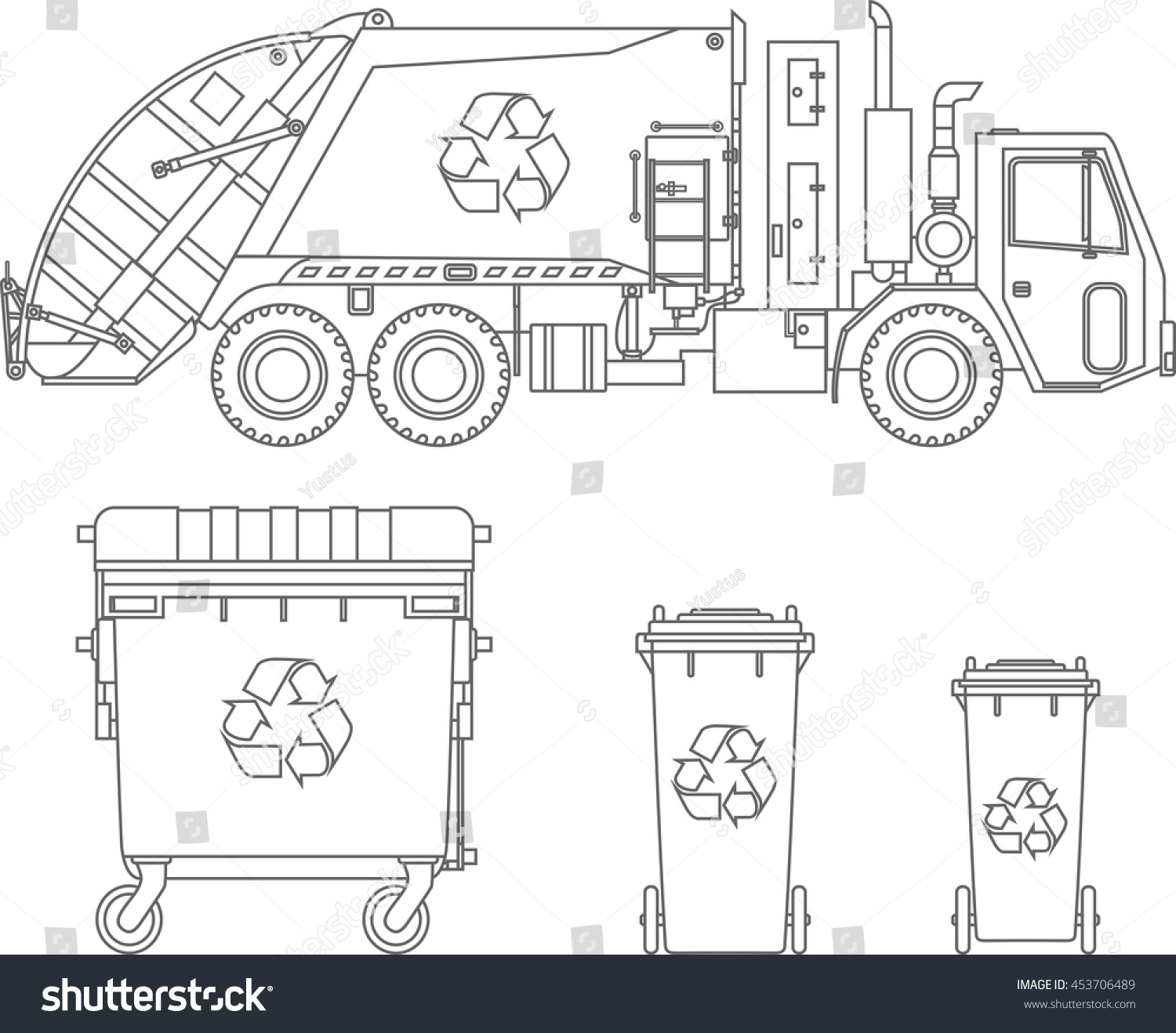Coloring Pages Set Garbage Truck Different Stock Vector 453706489