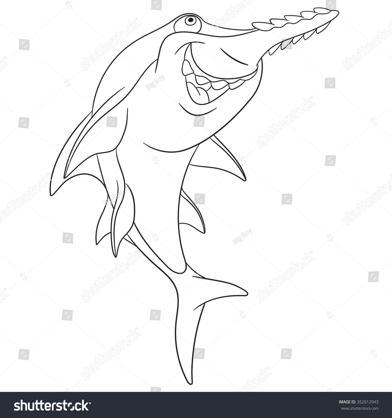 Cute Dangerous Happy Cartoon Saw Fish Stock Vector 352612943