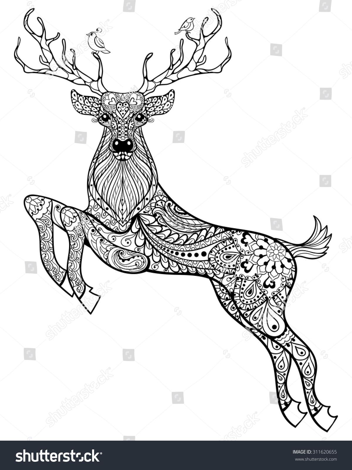 Deer Hand Drawn Christmas Magic Horned Stock Vector 311620655