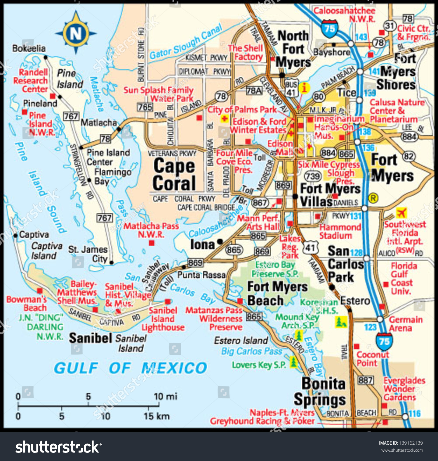 Roads Map Of Cape Coral Florida