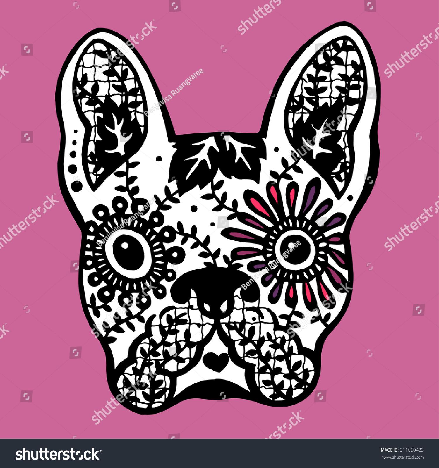 Skull Sugar Black White And Dog Bulldog Sugar Skull