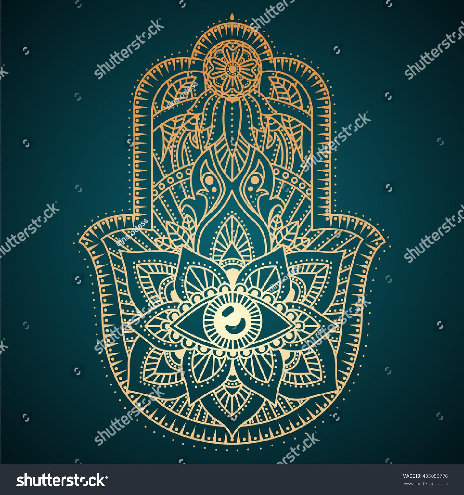 Hamsa Hand Hand Fatima Amulet Symbol Imagem Vetorial De ...