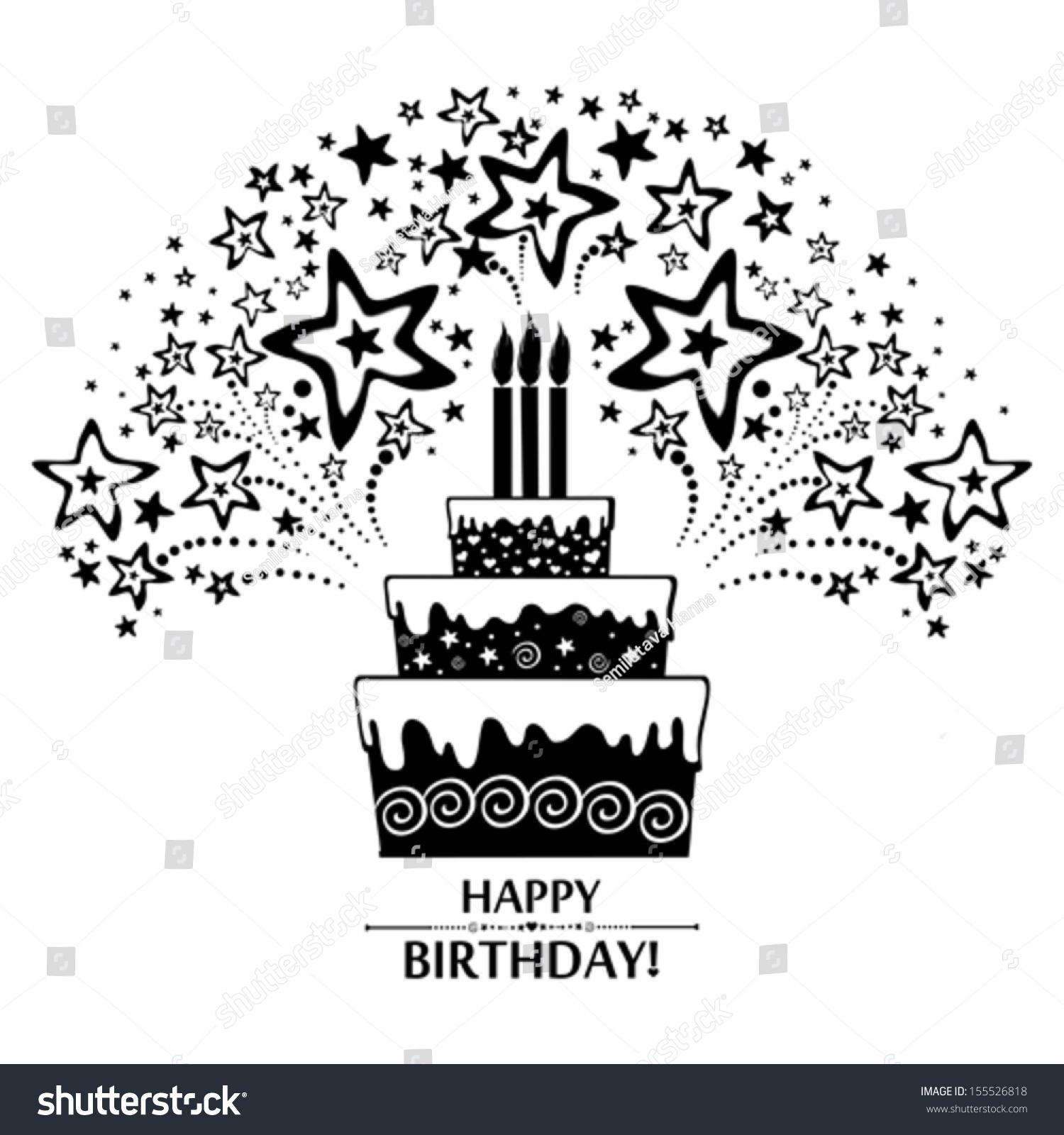 Happy Birthday Card Birthday Cake Firework Stock Vector