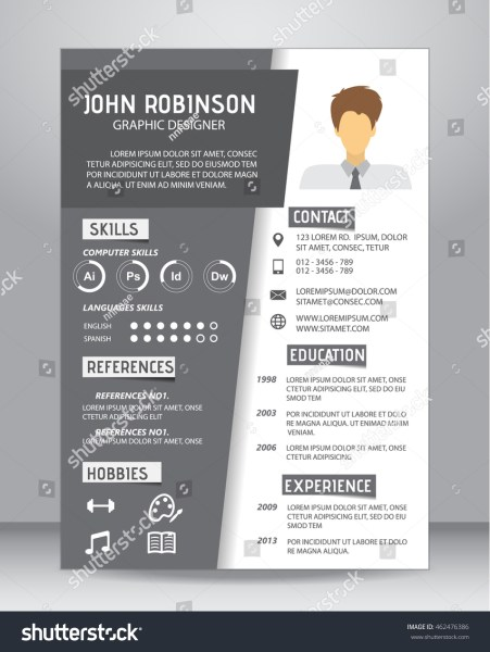 Job Resume CV Template Layout Template Stock Vector 462476386     Job resume or CV template layout template in A4 size  vector illustration