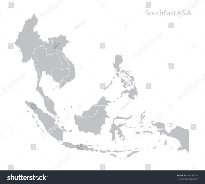 Map Southeast Asia Stock Vector  Royalty Free  468758351   Shutterstock Map of Southeast Asia