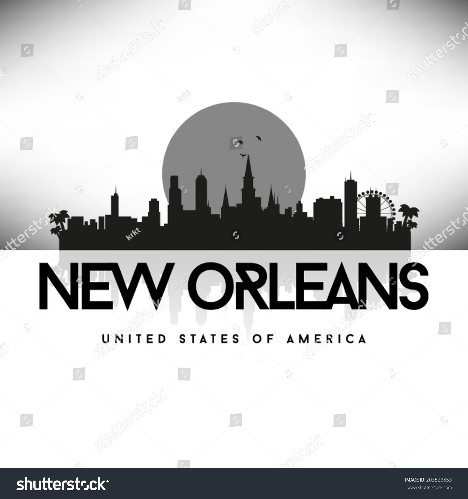 New Orleans Louisiana Black Skyline Silhouette Stock ...
