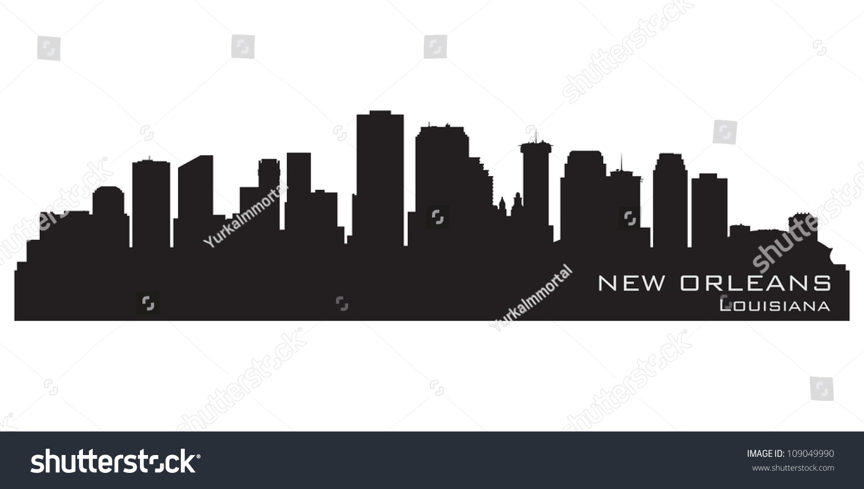 New Orleans Louisiana Skyline Detailed Vector Stock Vector ...