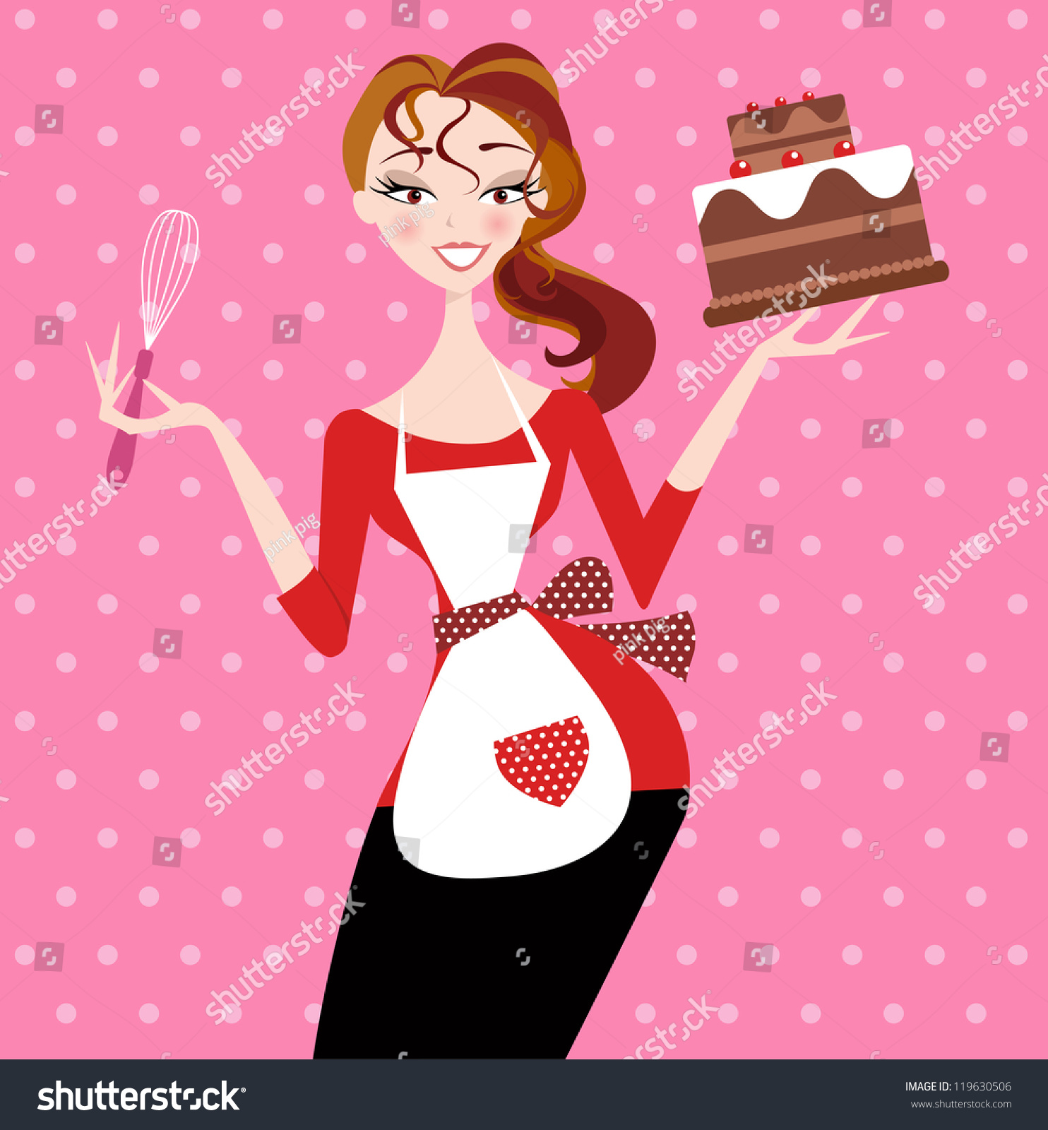 Pretty Girl Who Has Just Baked Stock Vector 119630506