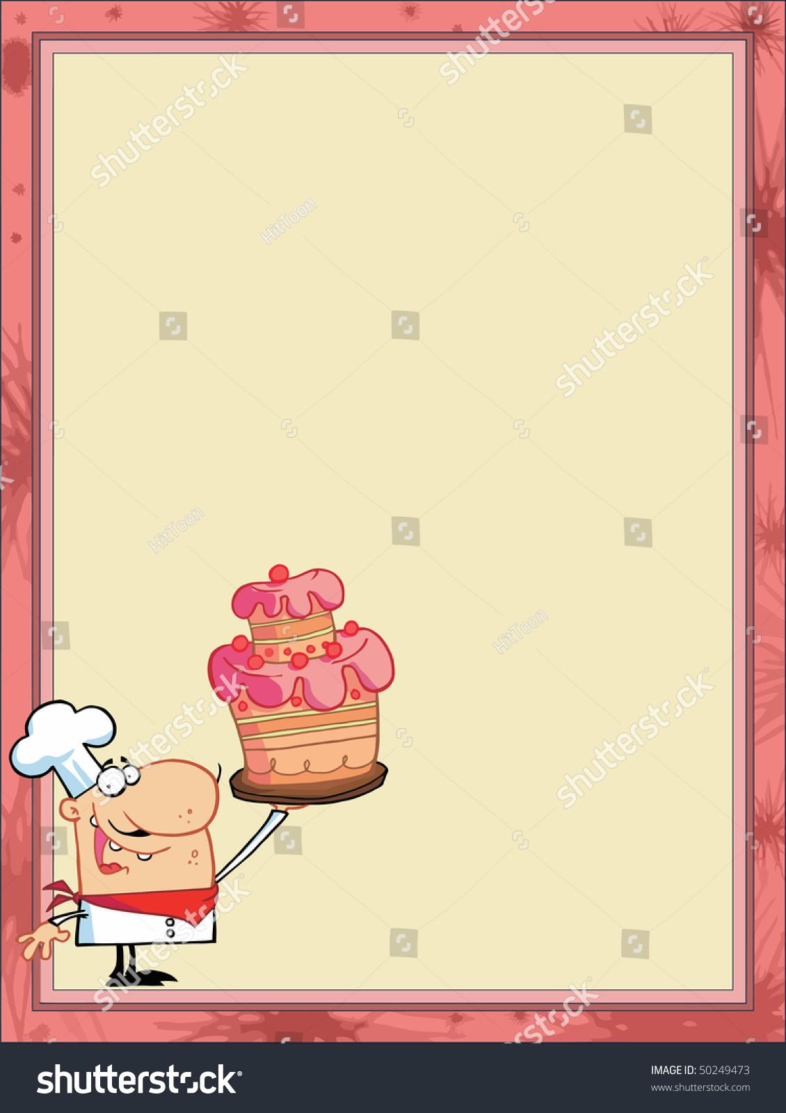 Proud Cake Chef Corner Stationery Background Stock Vector