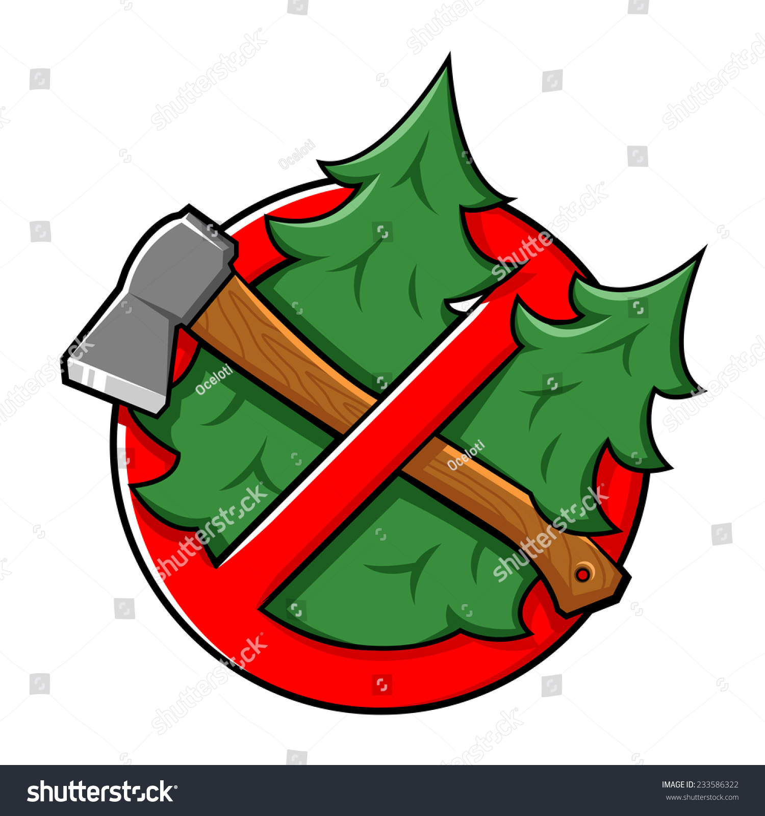 Red Warning Cartoon Sign, Do Not Cut Tree, Stop Cutting ...