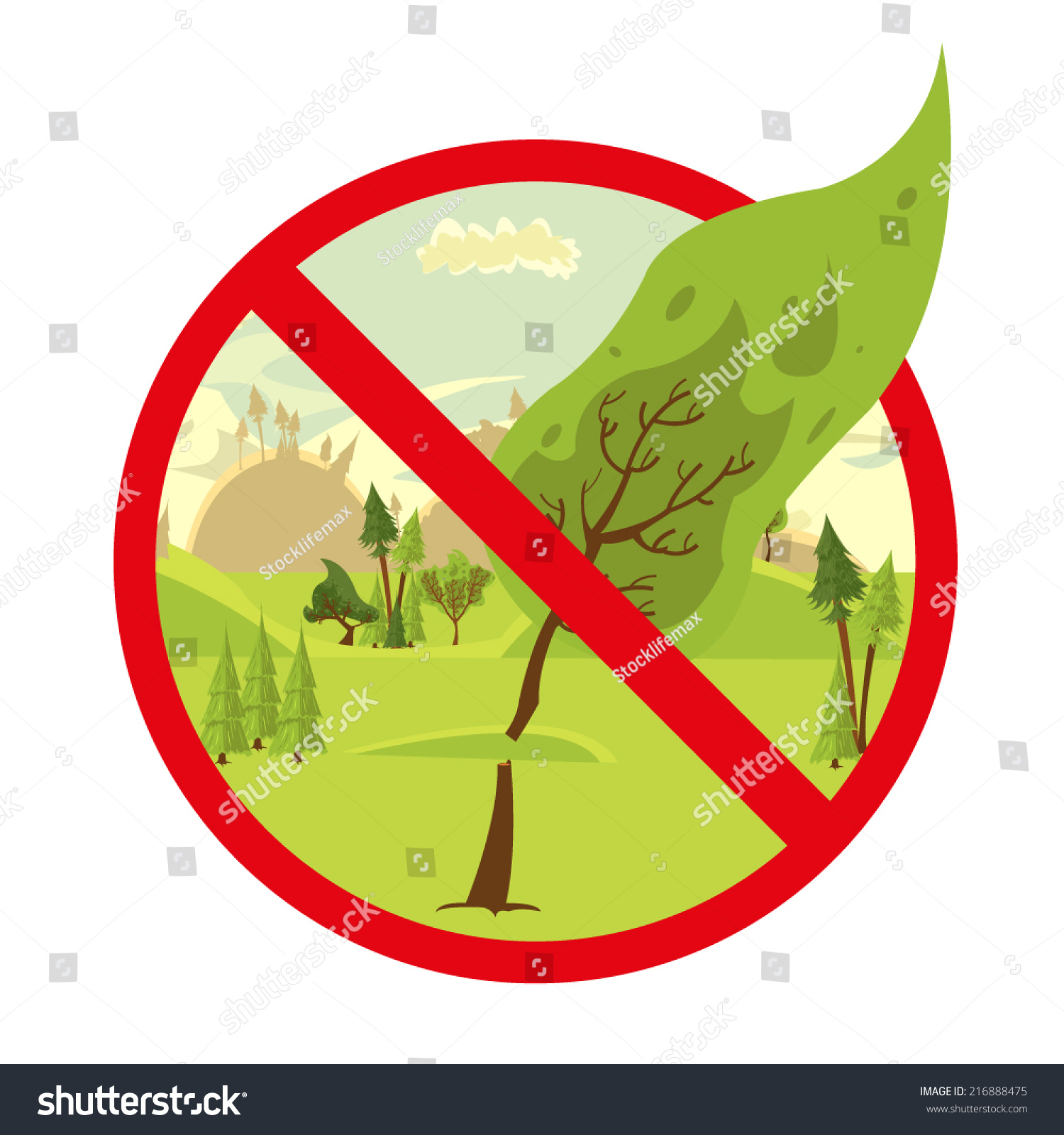 Sign Stop Cutting Down Trees Stop Stock Vector 216888475 ...