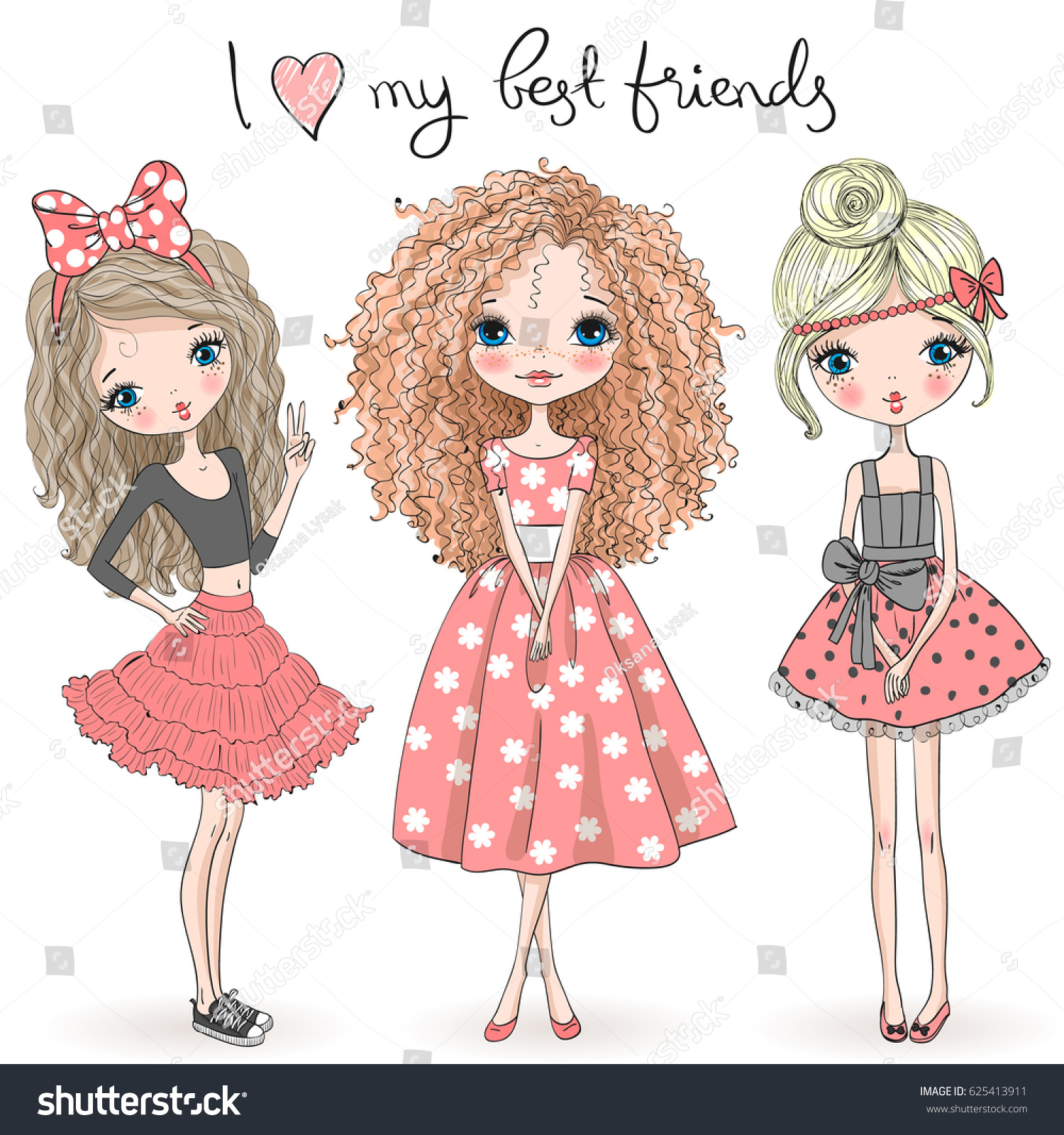 Three Best Friends Pretty Girl Drawings