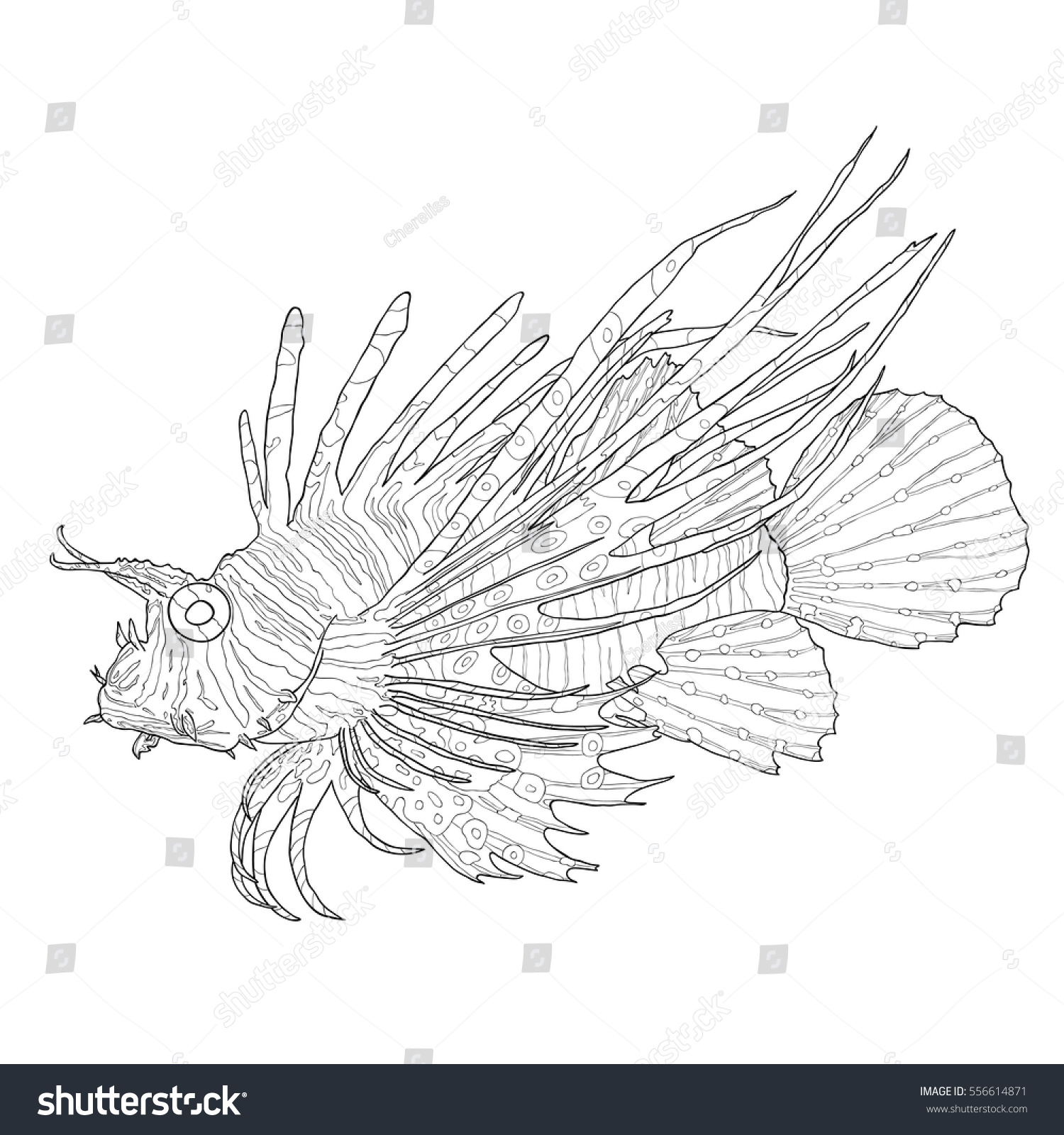 Tropical Fish Scorpion Fish Red Lionfish Stock Vector 556614871
