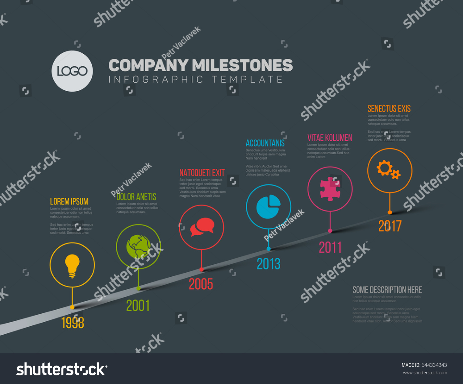 Vector Infographic Company Milestones Timeline Template Stock Vector     Vector Infographic Company Milestones Timeline Template with pointers on a  straight road line   dark version