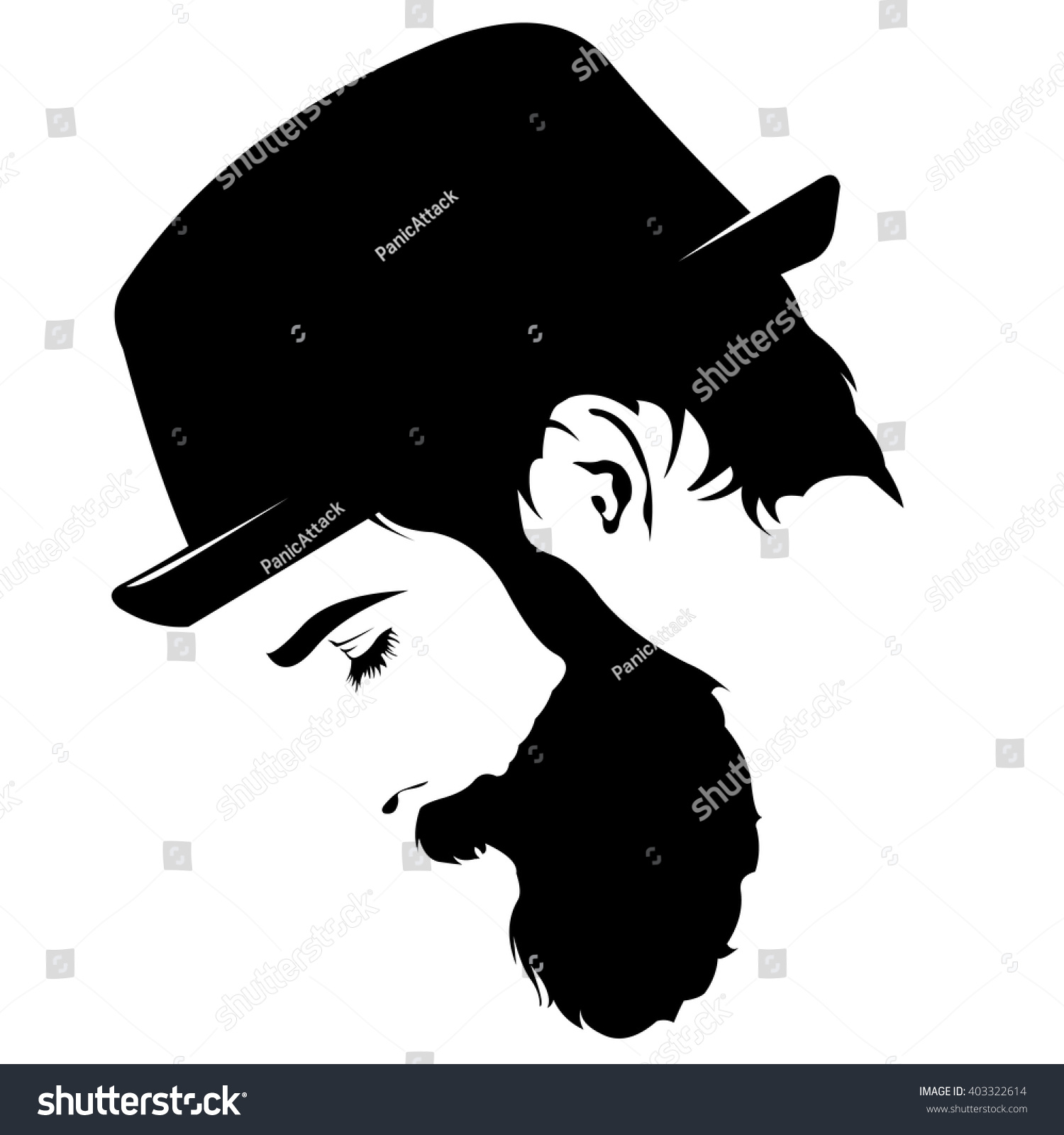 Hat Side Silhouette Man Face