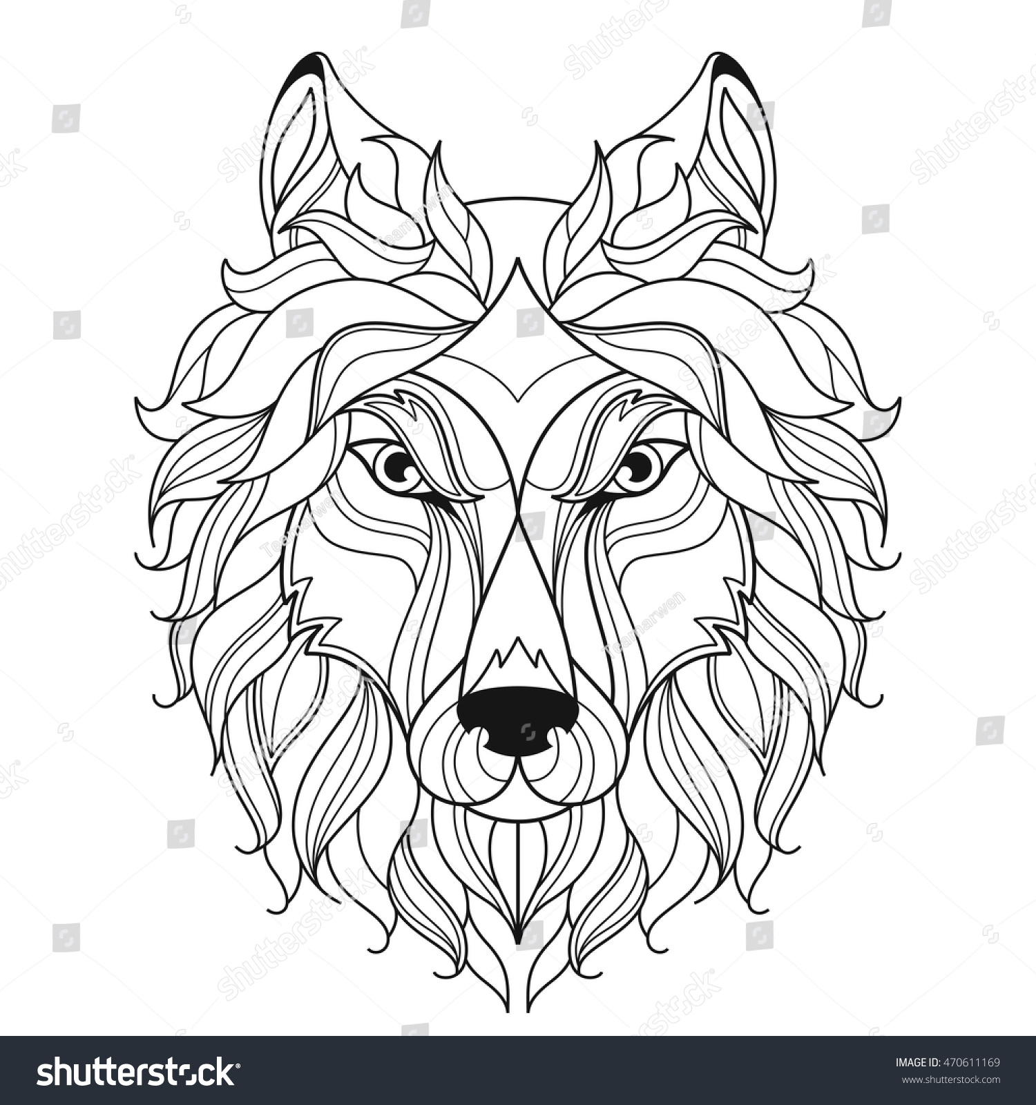 Wolf Head Zentangle Stylized Coloring Page Stock Vector 470611169
