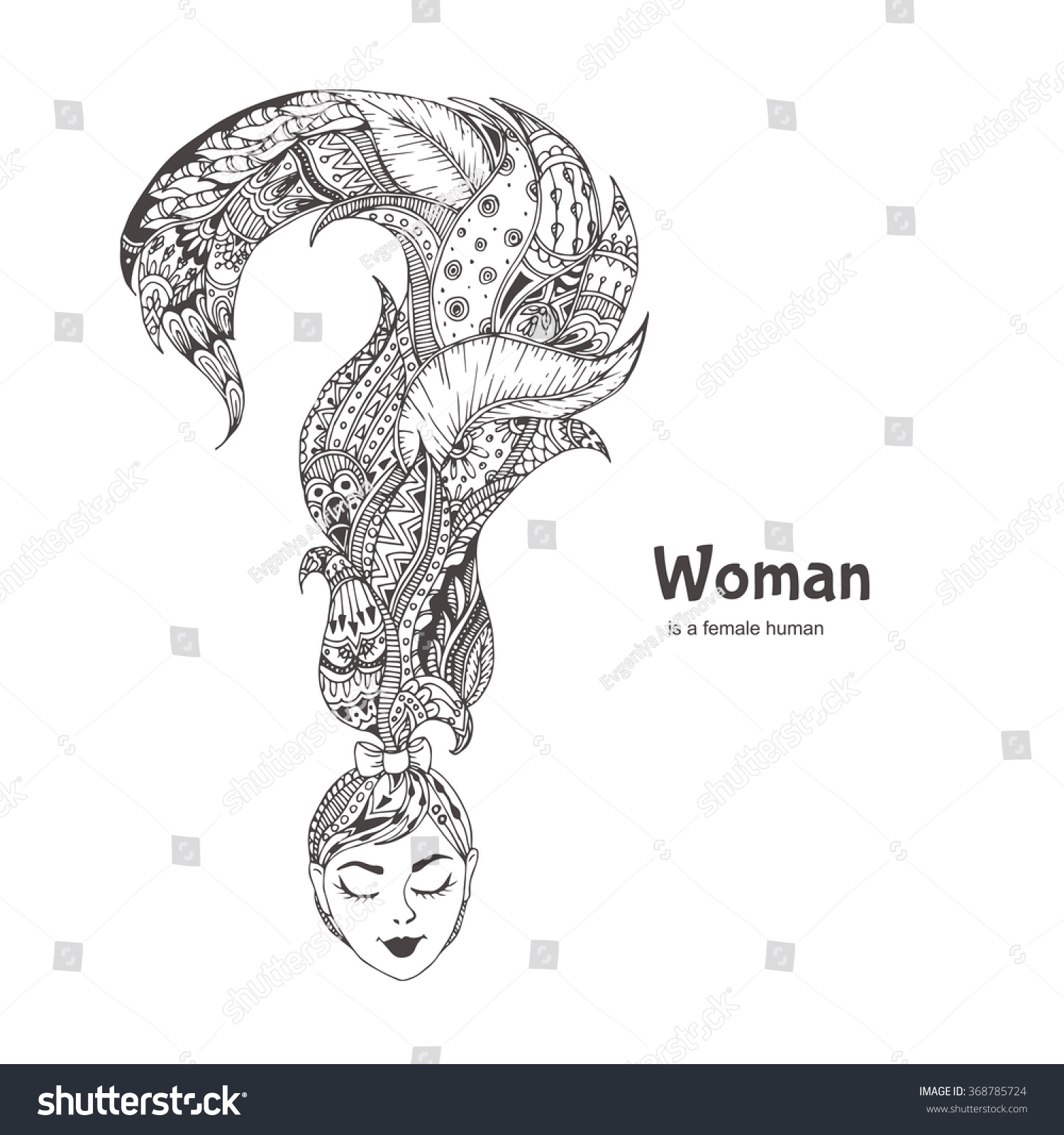 Woman Handdrawn Womans Head Question Mark Stock Vector 368785724