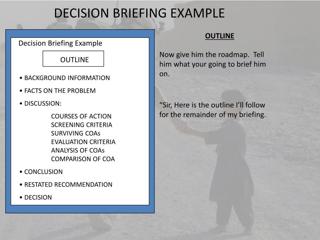 Us Army Decision Brief Example
