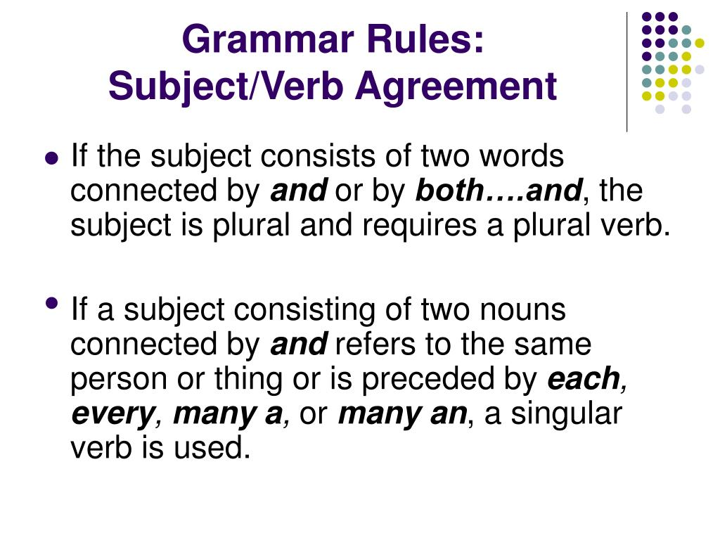 Singular Subject Verb Agreement