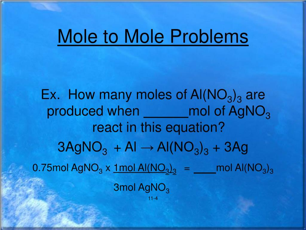 Stoichiometry Mole Mole Set Up