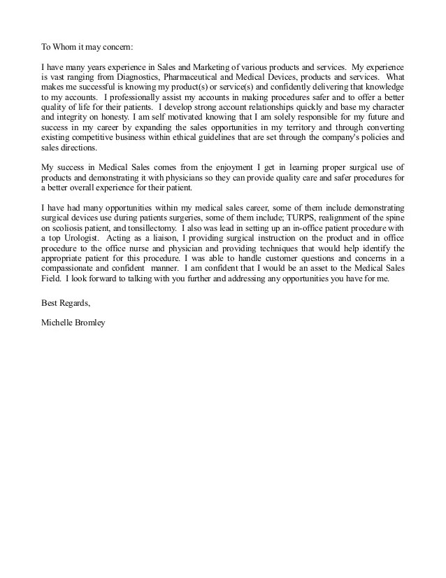 Medical Device Cover Letter