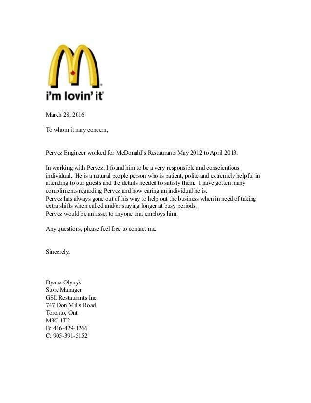 Letter Recommendation Restaurant Manager