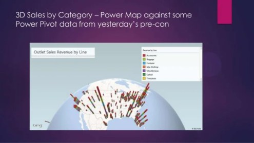 3D Geospatial Visualization Using Power Map     15  3D Sales by Category     Power Map