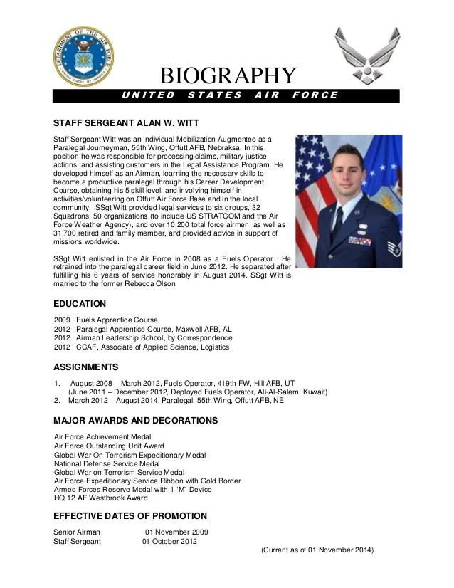 Army military bio sample for Air force bio template