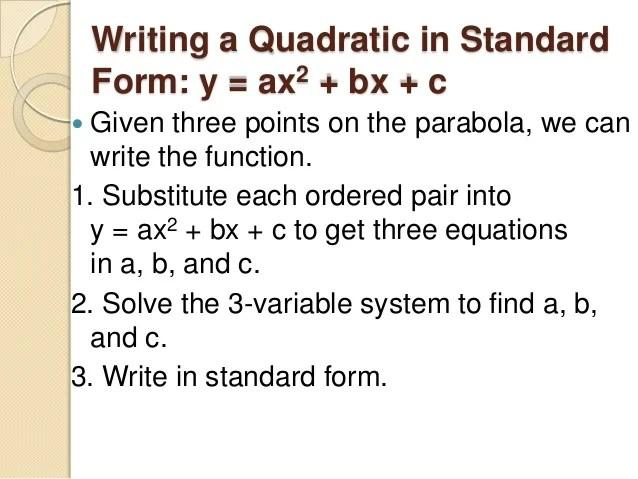 Form Parabola 5 Vertex Vertex 0 Equation