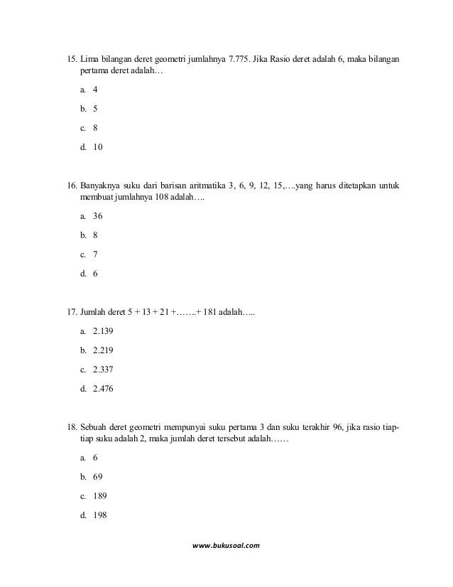 Barisan Dan Deret Aritmatika Dan Geometri Kelas 8